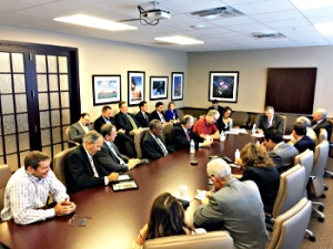 Pictured: Representative Babin meets with Houston space industry leaders and announces formation of Texas Space Congressional Caucus.